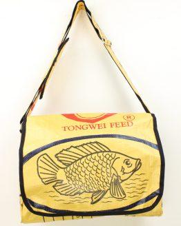 Schultertasche Fisch gelb rand