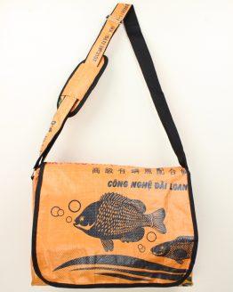 Schultertasche Fisch orange rand