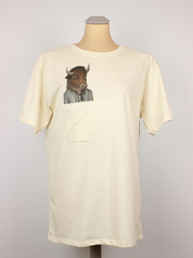 T Shirt Business Bison Pocket Print Hangout Fashion