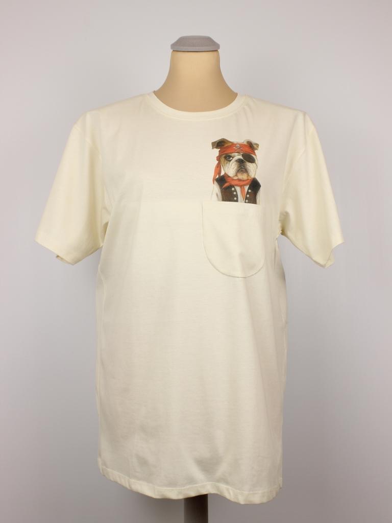 T Shirt Piraten Hund Pocket Print Hangout Fashion
