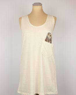 Tanktop - Old School Eule - Pocket Print