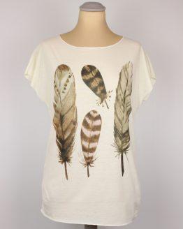 T-Shirt - Federn braun