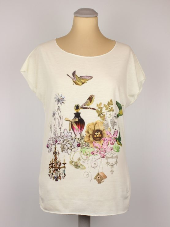 T-Shirt - Vintage Flakon Vögel Blumen