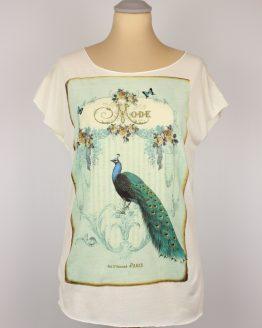 T-Shirt - Vintage Pfau türkis
