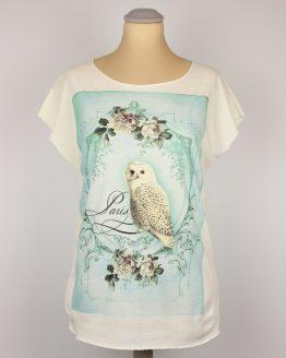 T-Shirt - Vintage Schnee Eule türkis