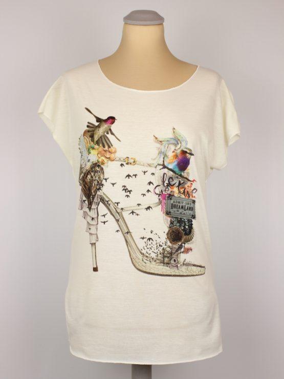 T-Shirt - Vintage Schuh Kolibri Blumen