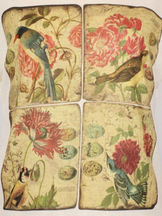 T-Shirt - umgenäht - Vintage Blumen-Kacheln