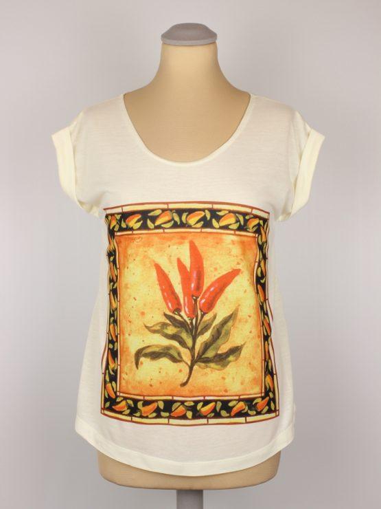T-Shirt - umgenäht - Chili Kachel mediteran