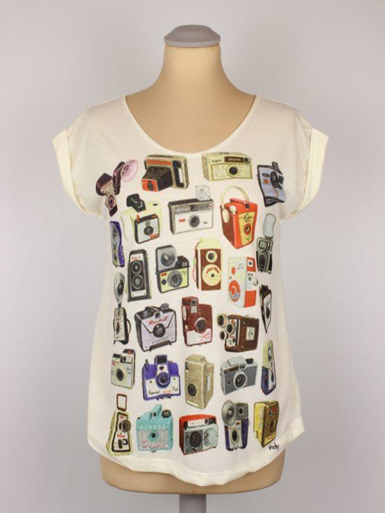 T-Shirt - umgenäht - Fotoapparate bunt
