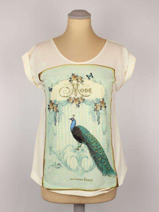 T-Shirt - umgenäht - Vintage Pfau türkis