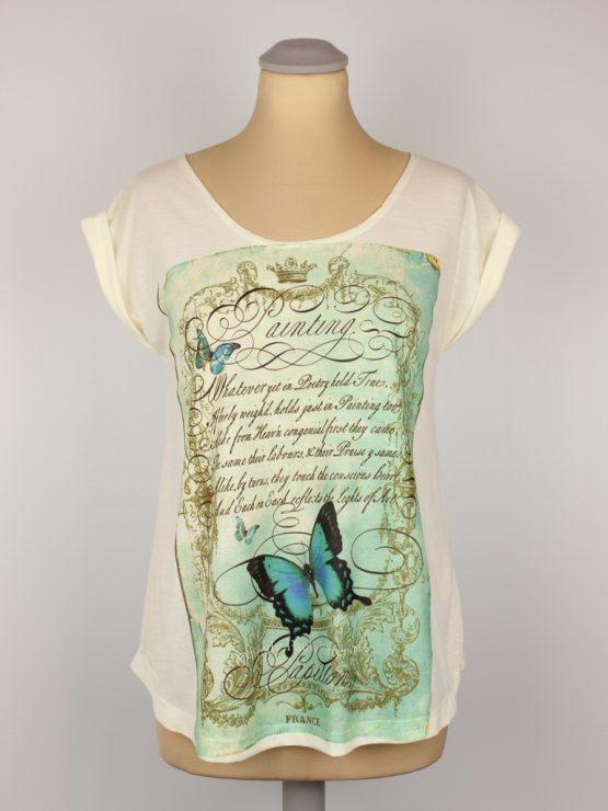 T-Shirt - umgenäht - Vintage Schmetterling Gedicht