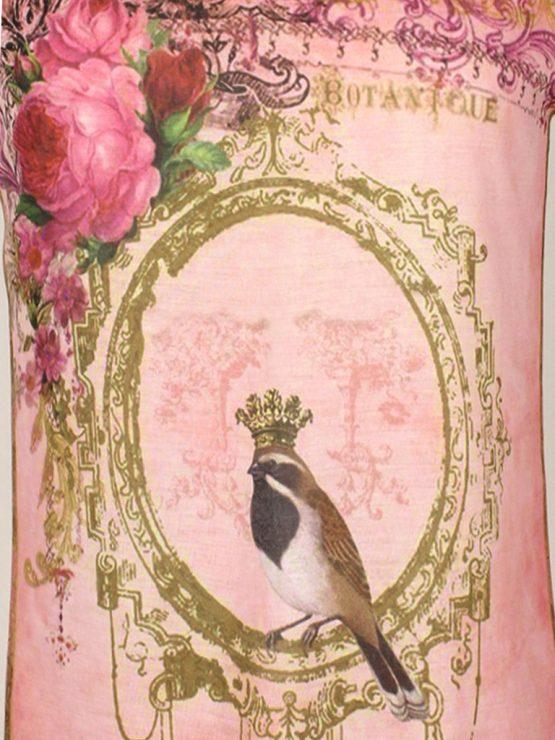 T-Shirt - umgenäht - Vogel Blumen in pink