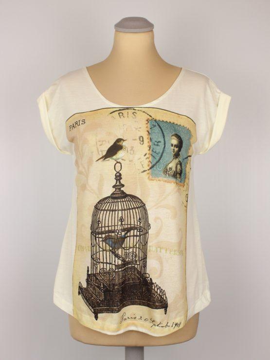 T-Shirt - umgenäht - Vintage Vogelkäfig Briefmarke