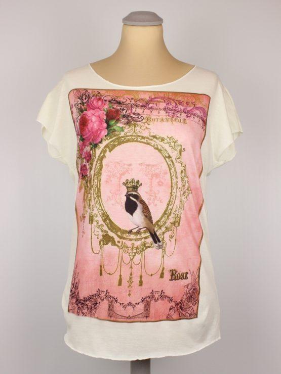 T-Shirt - Vintage Vogel Blumen pink