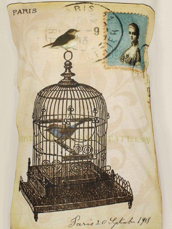 T-Shirt - Vintage Vogelkäfig Briefmarke