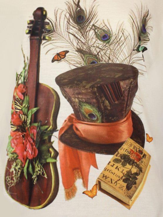 T-Shirt - Zylinder Geige Pfauenfedern