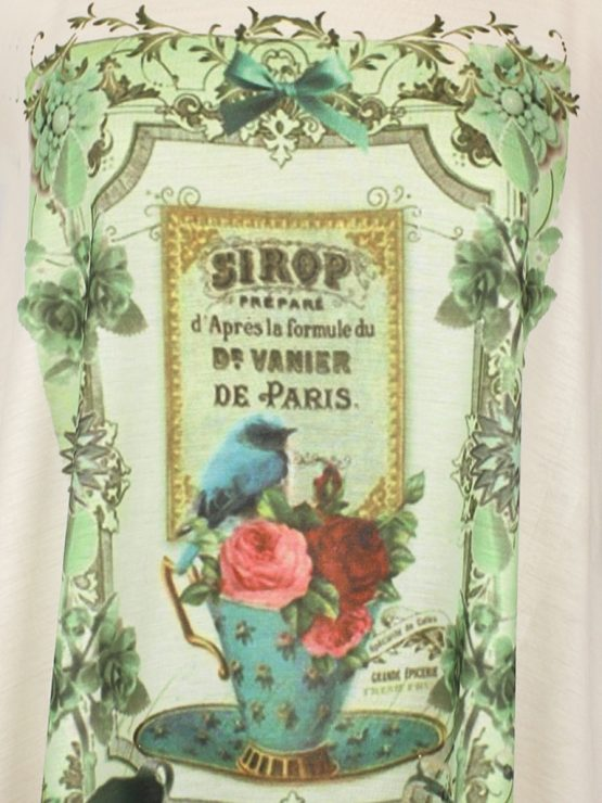Tanktop Vintage Tasse in türkis mit pinken Rosen