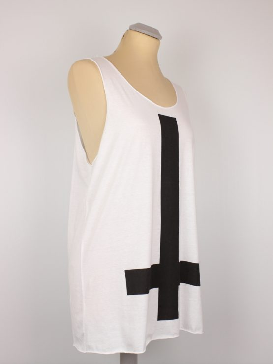 Tanktop - weiß- unisex - inverted cross